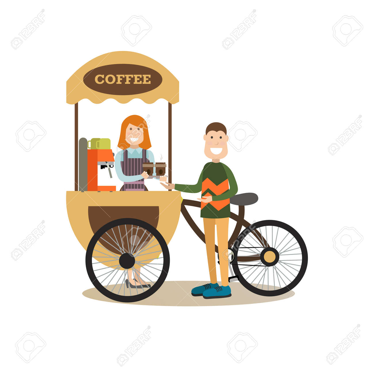 Vector Illustration Of Young Man Buying Coffee To Go At Street