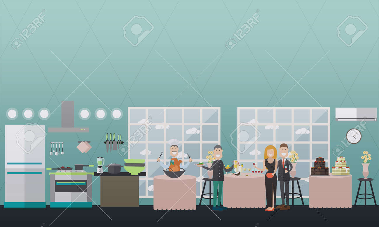 Vector Illustration Of Restaurant Kitchen And Banquet Hall Interior ...