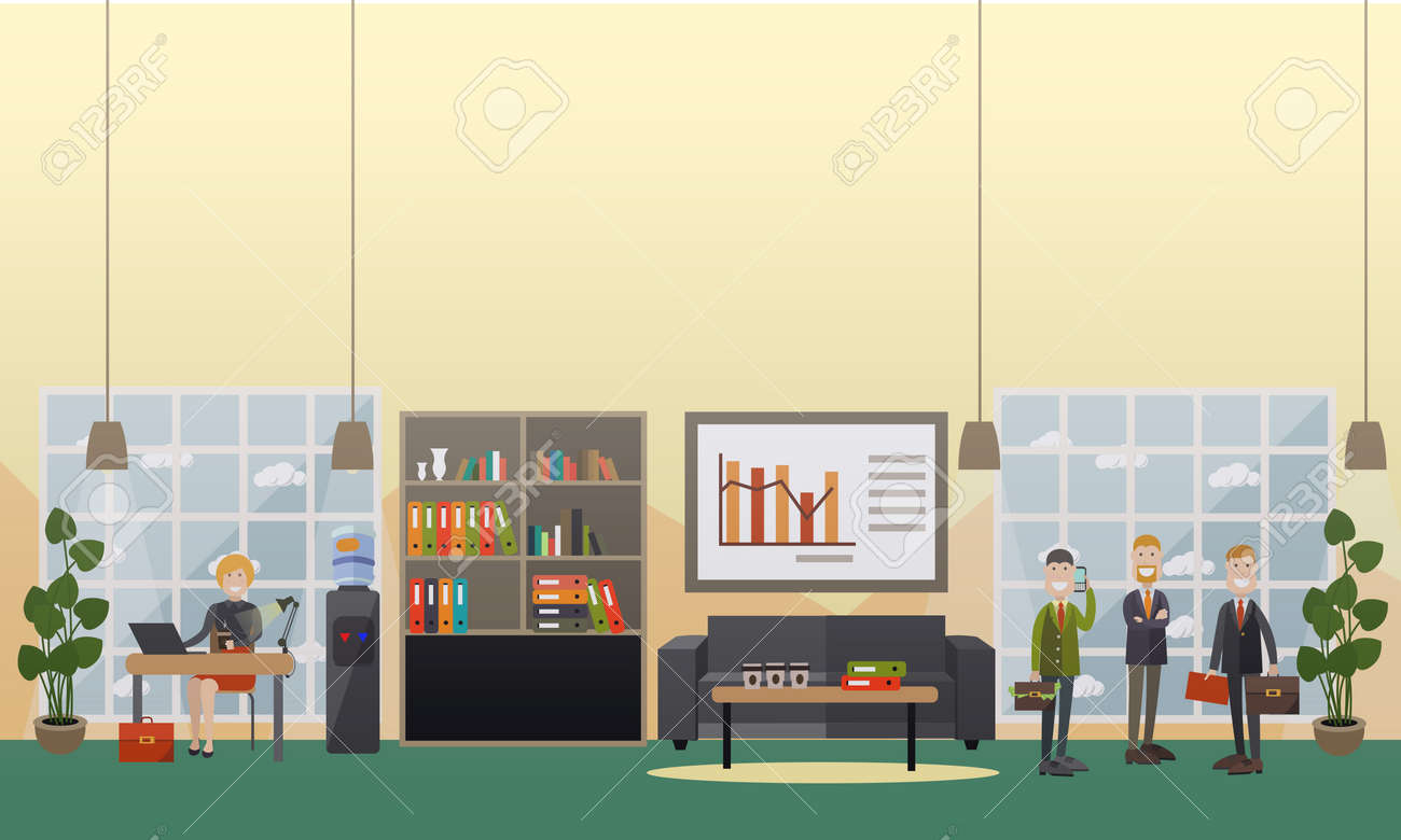 Vector   Vector Illustration Of Employees And Modern Workspace Interior  With Furniture, Computer Equipment And Office Supplies.
