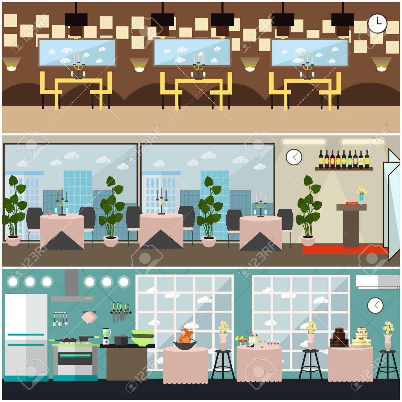 Vector Restaurant Interior Set With Kitchen, Banquet Hall With ...