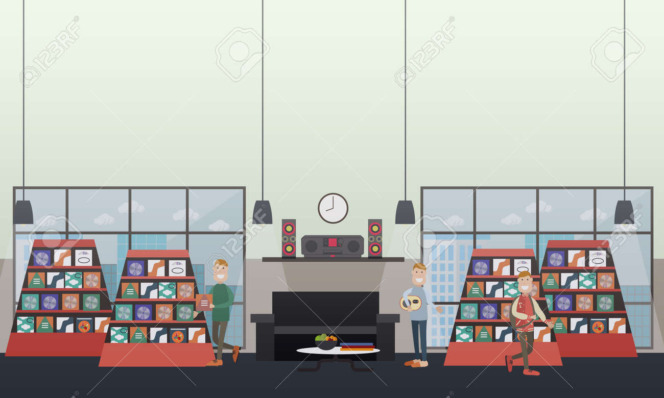 Vector   Vector Illustration Of Men Choosing CDs At Music Store And  Listening To Music At Home. Discs Shop Concept Design Elements In Flat  Style.