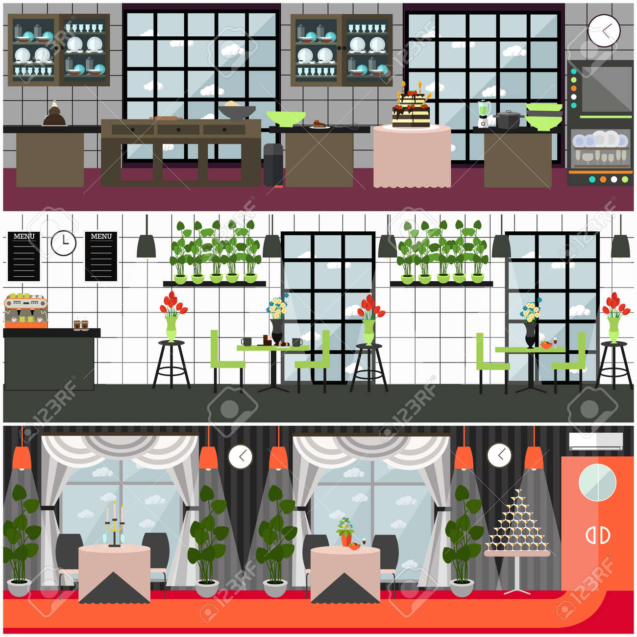 Vector vector restaurant and cafe interior set with kitchen banquet hall with furniture and decorations flat style design illustration