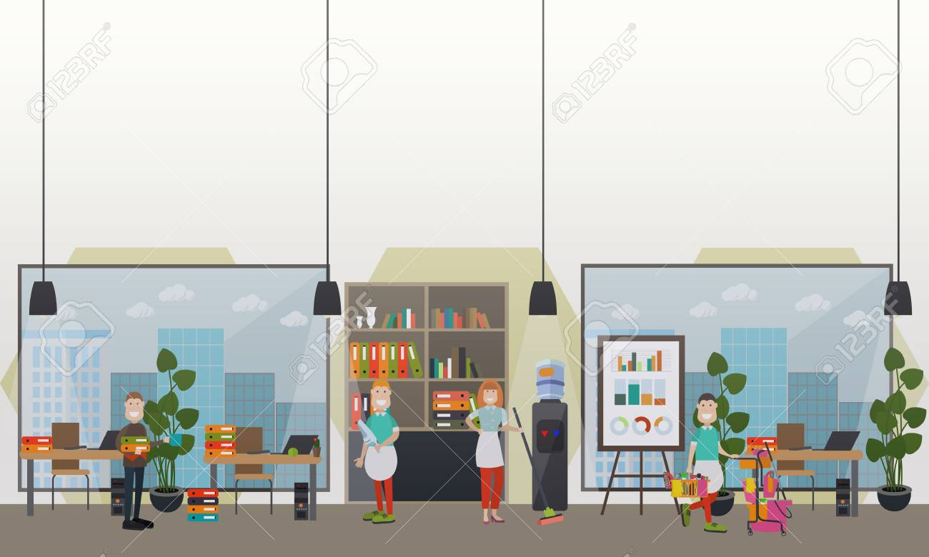 Professional Office Cleaning Services Vector Flat Illustration Stock  Illustration   94106695