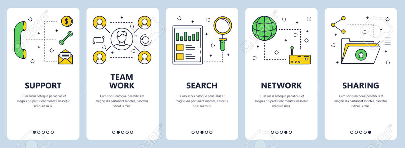 Vector Set Of Vertical Banners With Support Team Work Search - Photo sharing website template