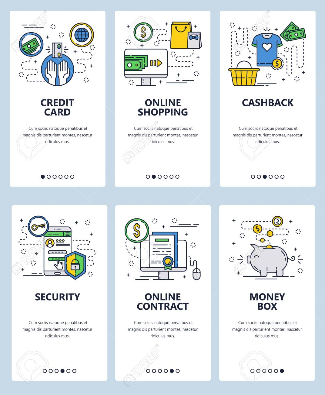 074321e8e Vector - Vector web site linear art onboarding screens template. Online  shoping and secure internet payments. Cashback, credit card and piggy money.