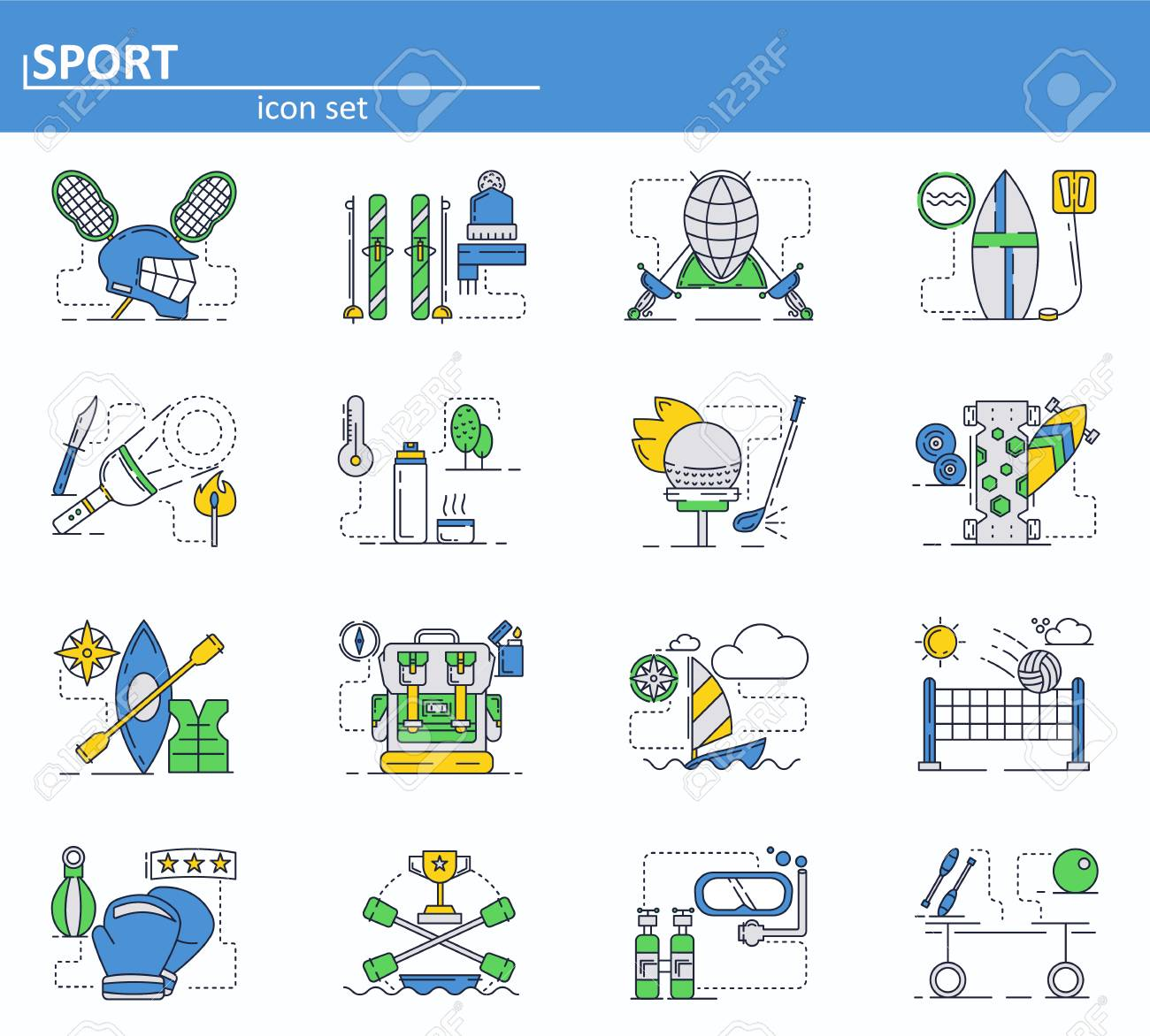 5fd55a962259 Vector - Vector set of sport icons in thin line style. Volleyball