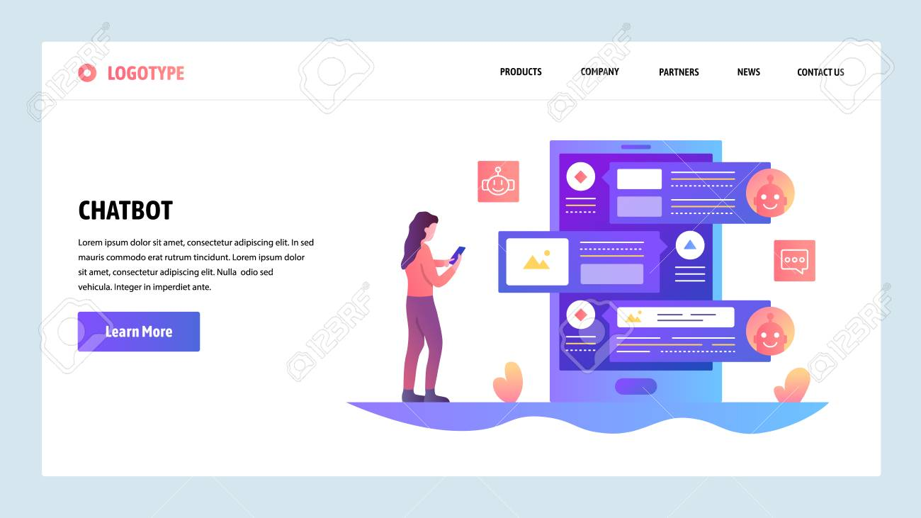 Vector web site design template  AI online chat bot and customer