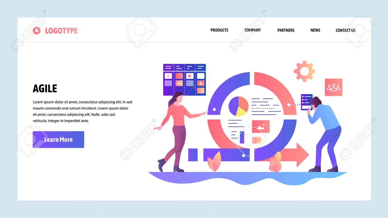 Vector Web Site Design Template Agile Project Management And Royalty Free Cliparts Vectors And Stock Illustration Image 111134148