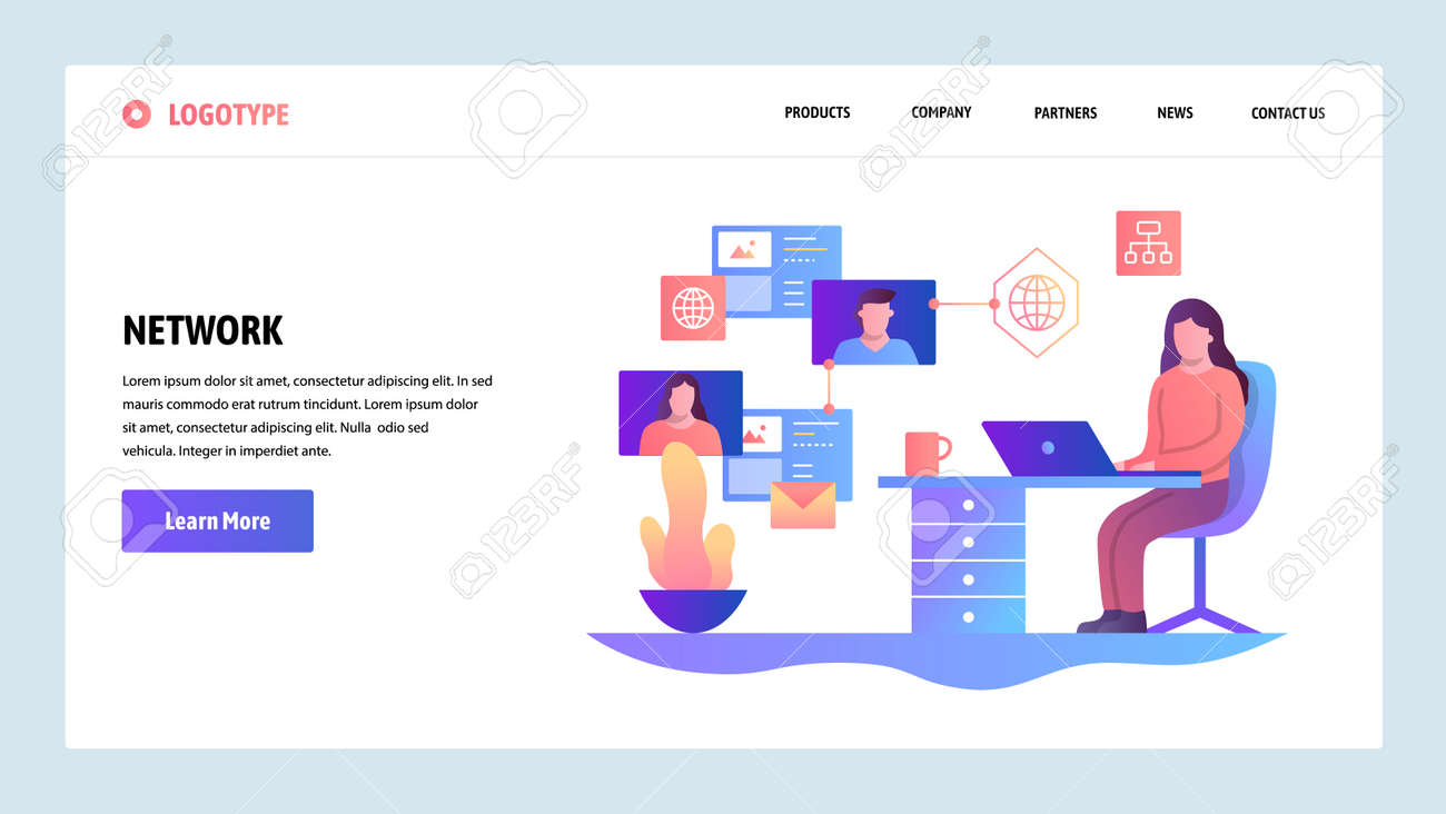 Illustration - Vector web site design template. Social media network 86e91699e9e