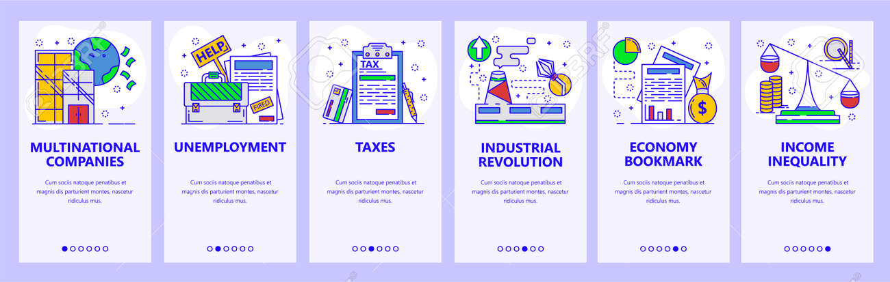 Mobile app onboarding screens. Business, industry and economy. Unemployment rate, taxes, income. Menu vector banner template for website and mobile development. Web site design flat illustration. - 119541015
