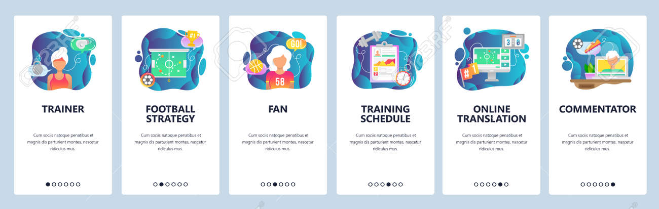 Mobile app onboarding screens  Sport game trainer, football strategy,