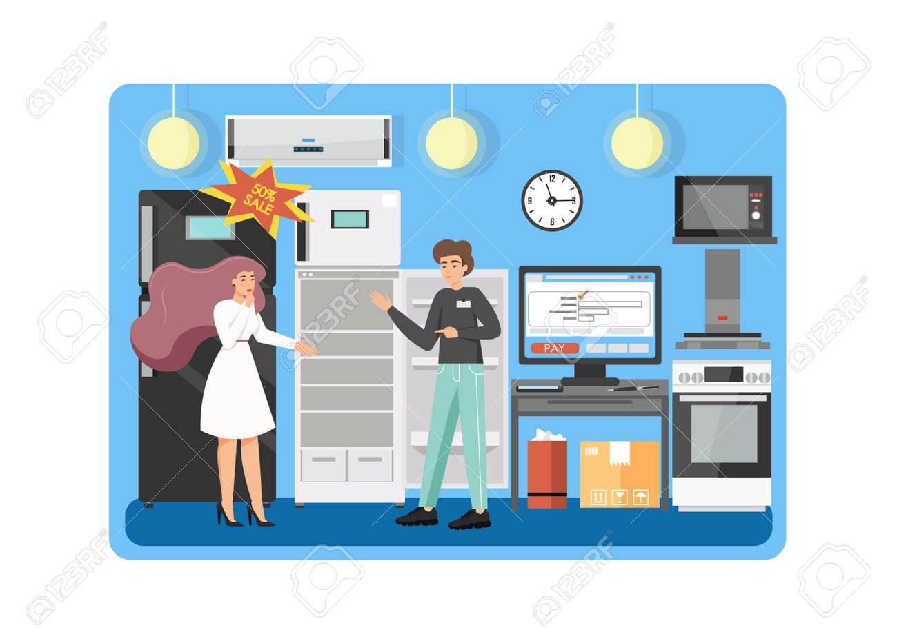 Home And Kitchen Appliances Store Vector Flat Illustration Royalty Free Cliparts Vectors And Stock Illustration Image 142998824