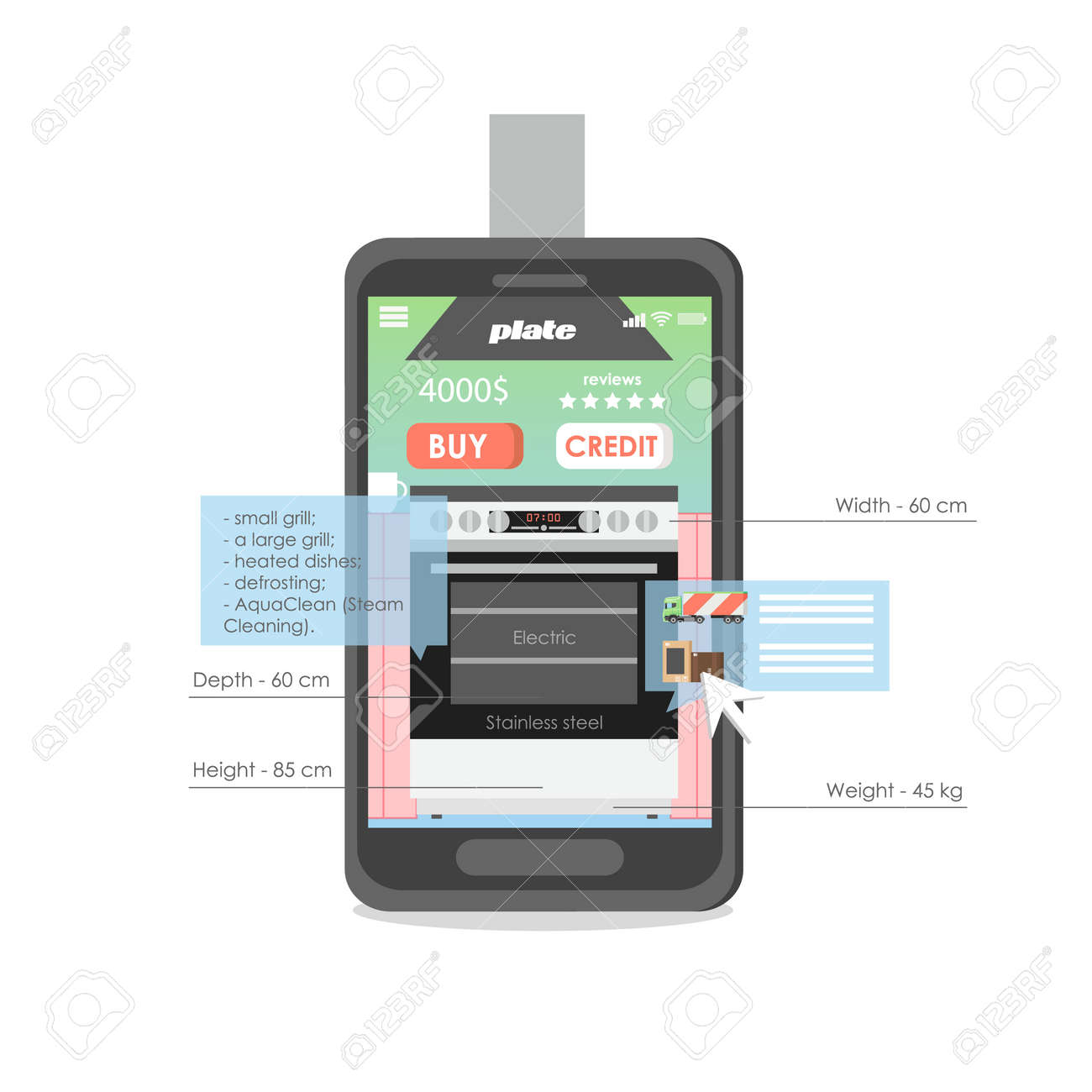 Mobile phone with electric cooker and oven on screen, vector flat illustration. Kitchen appliances store, home appliances online shopping. - 149559467
