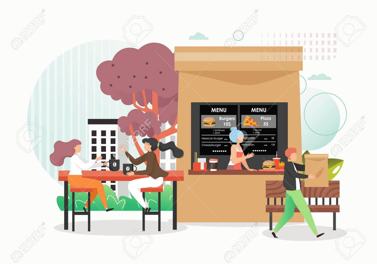Fast Food Restaurant Cafe With Outdoor Seating Vector Flat Royalty Free Cliparts Vectors And Stock Illustration Image 150332546