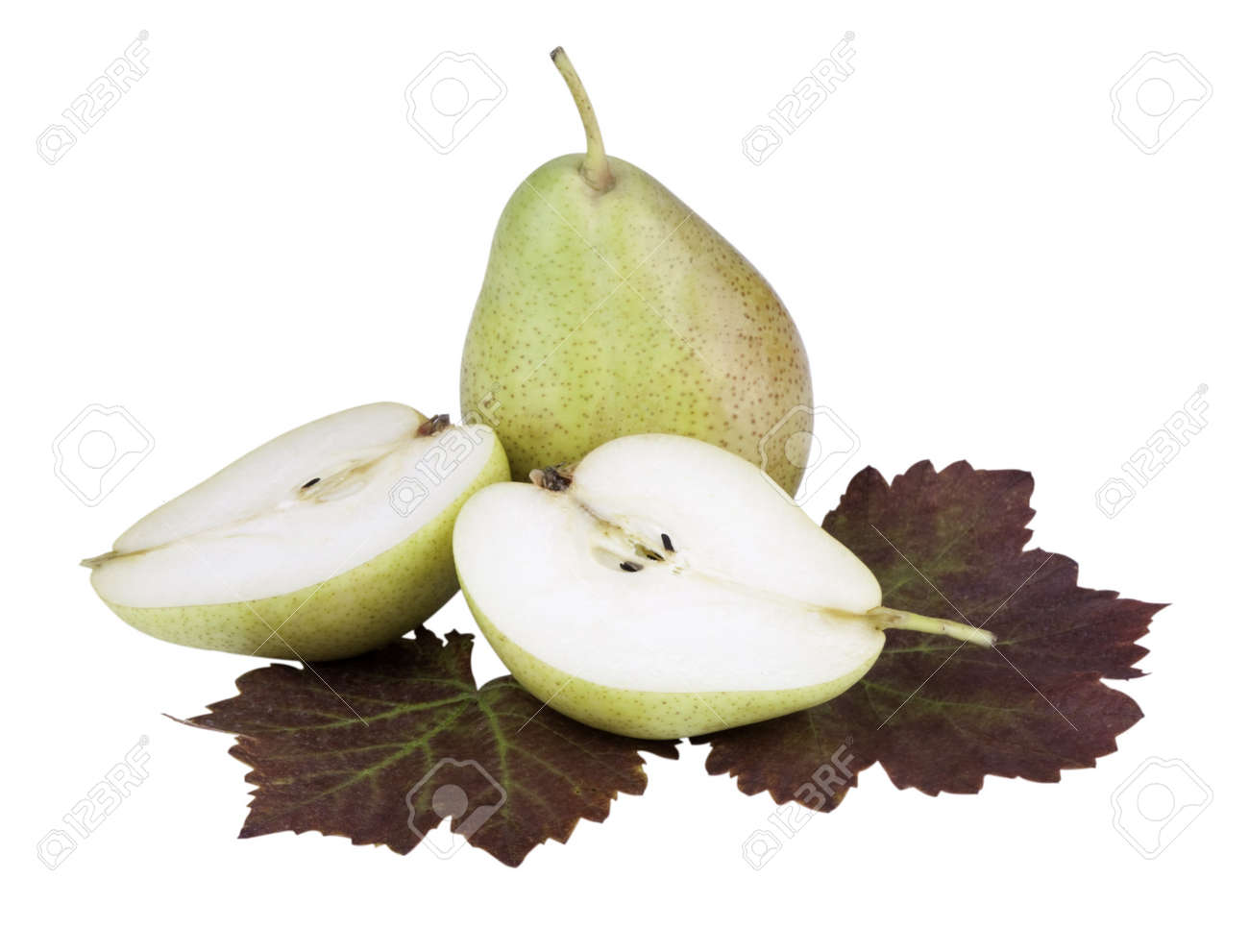 Pears and leaves in front of white background Stock Photo - 7842354