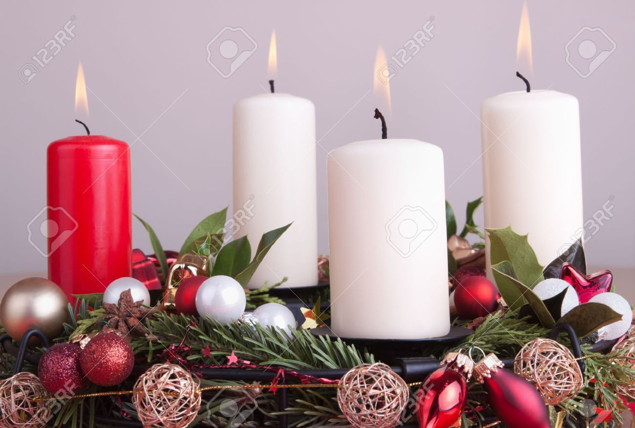 Advent Wreath Decorations Advent Wreath Decorated For Christmas With Lighted Candles Stock