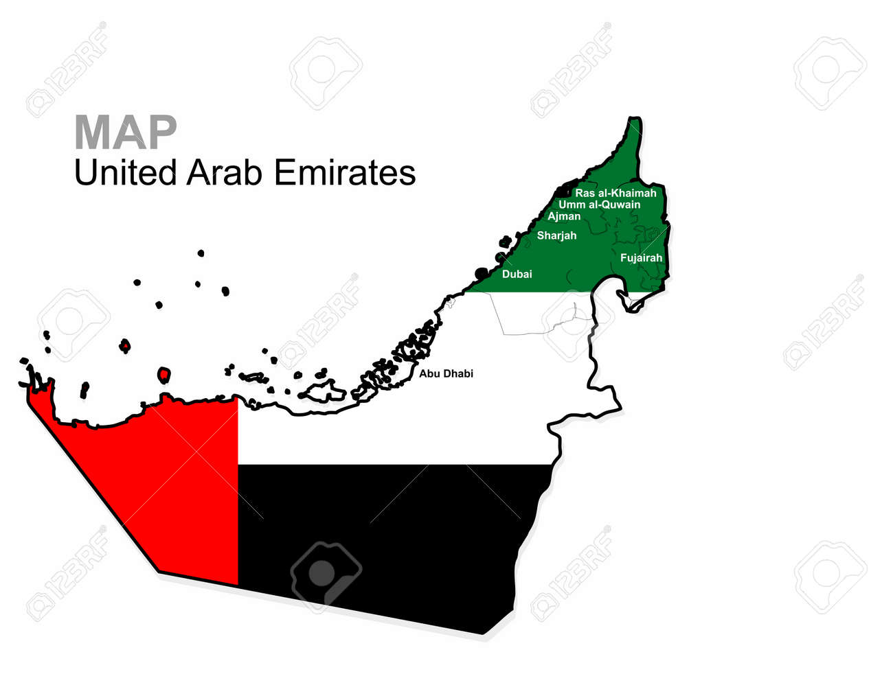UAE, Vector. United Arab Emirates Map Divided By Region ...
