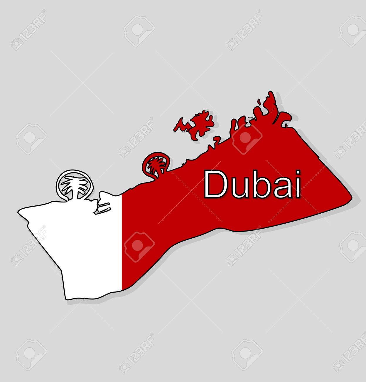 map of dubai uae map with the background of the flag of the city