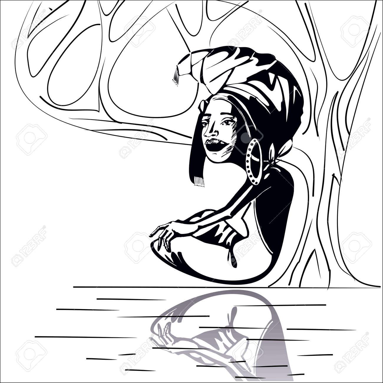 dca5049a0 Foto de archivo - Imagen estilizada de una mujer africana adulto que se  sienta debajo de un árbol cerca del río. de color blanco y negro.