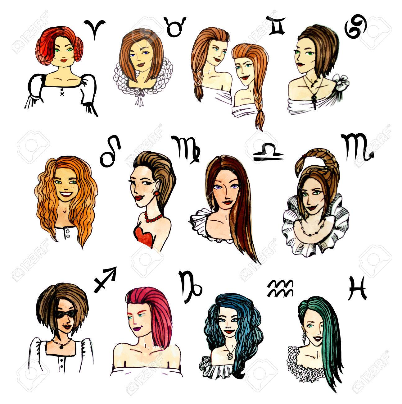 Set Of Zodiac Signs In Girls Watercolor Illustration In Vector