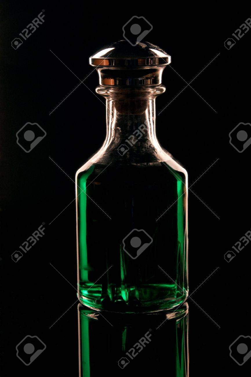 A decanter filled with green creme de menthe liquer Stock Photo - 6523317