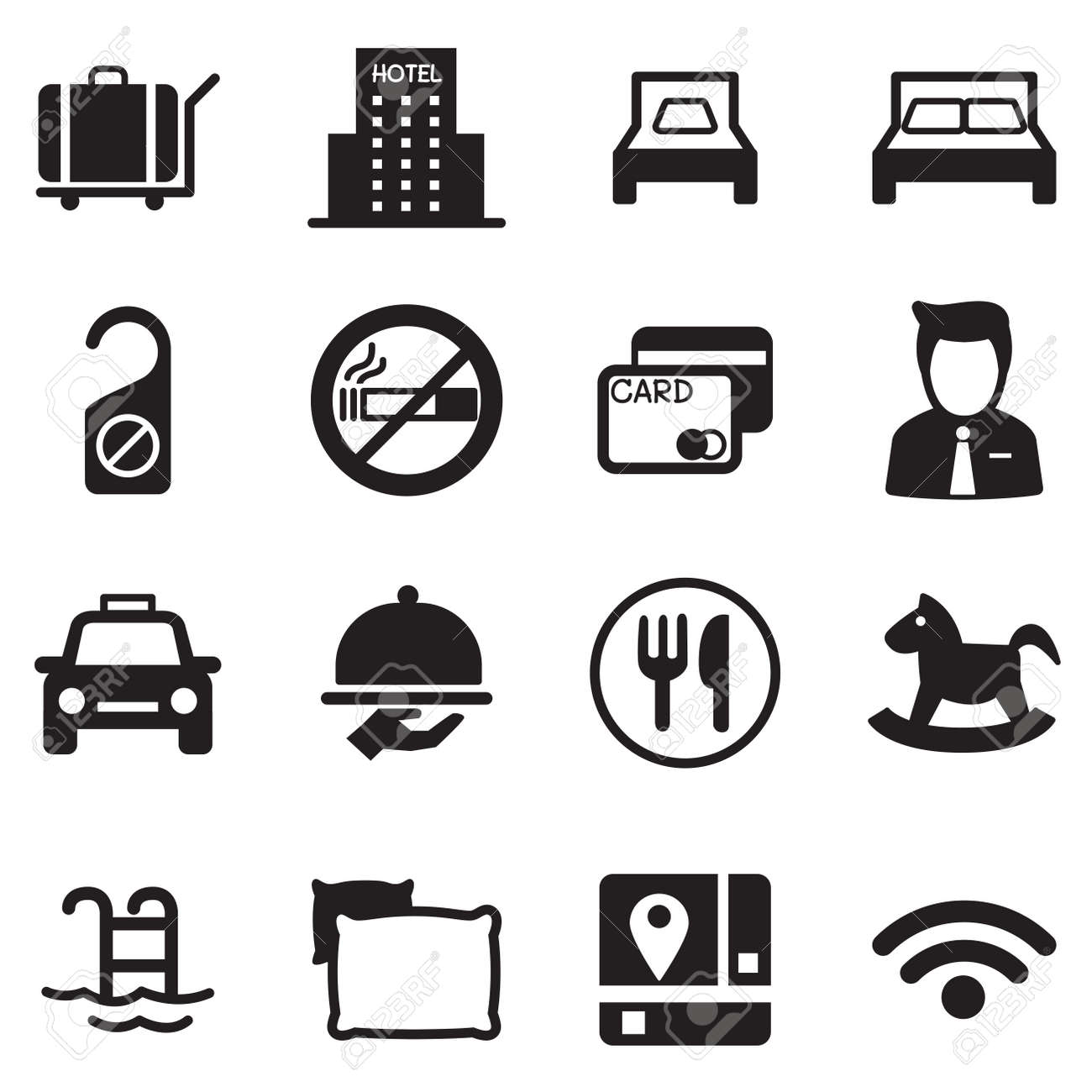 Icons For Hostels And Hotels Set Silhouette Stock Vector