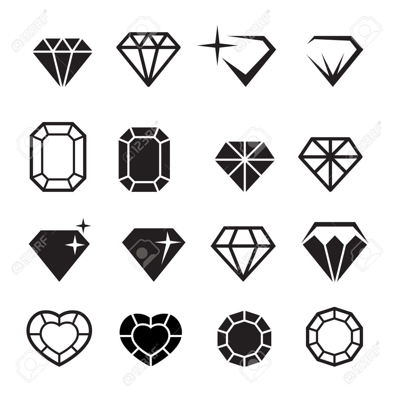 Diamond icons set vector - 52045144