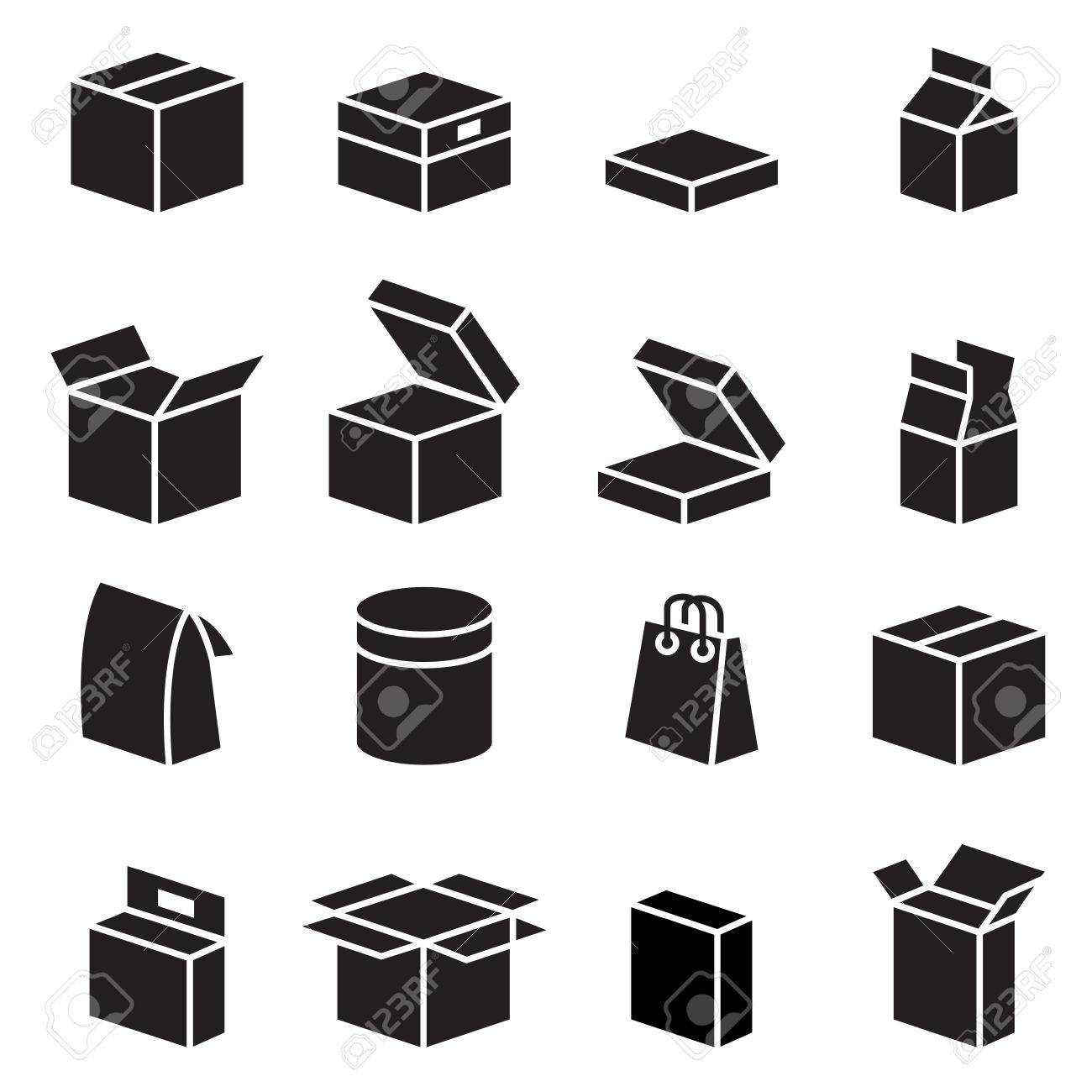 Silhouette box packaging icon - 52045363