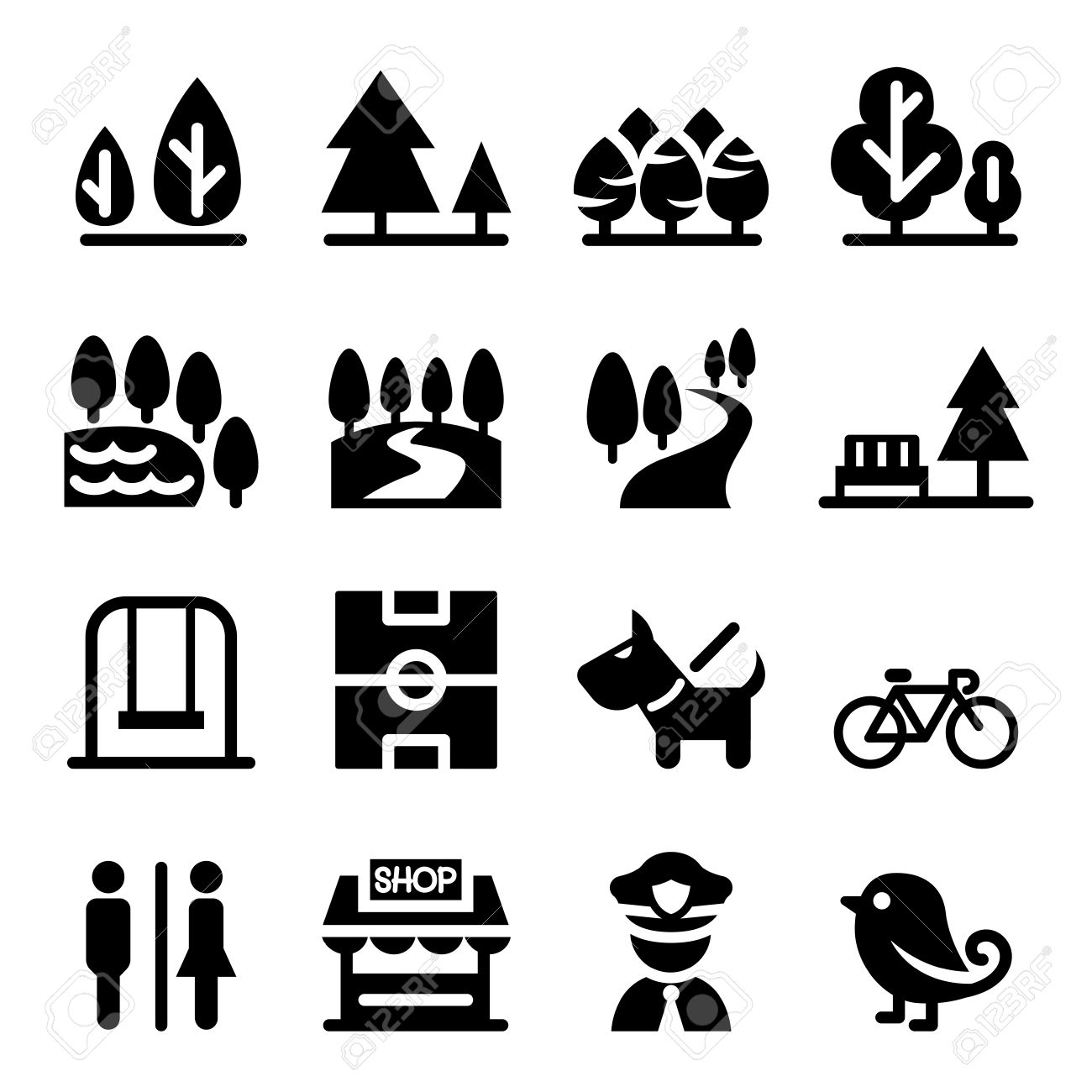 Park Public Park National Park Garden Icon Set Royalty Free