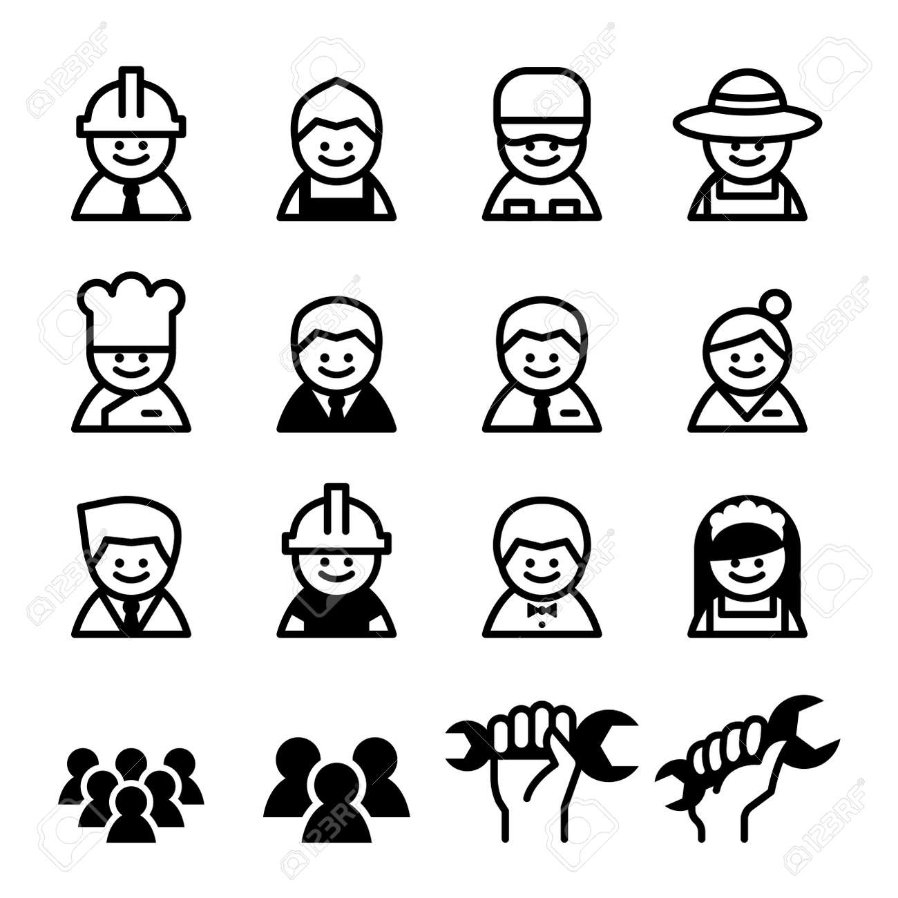 Staff Job Worker Career Labor Day Icon Set Royalty Free Cliparts
