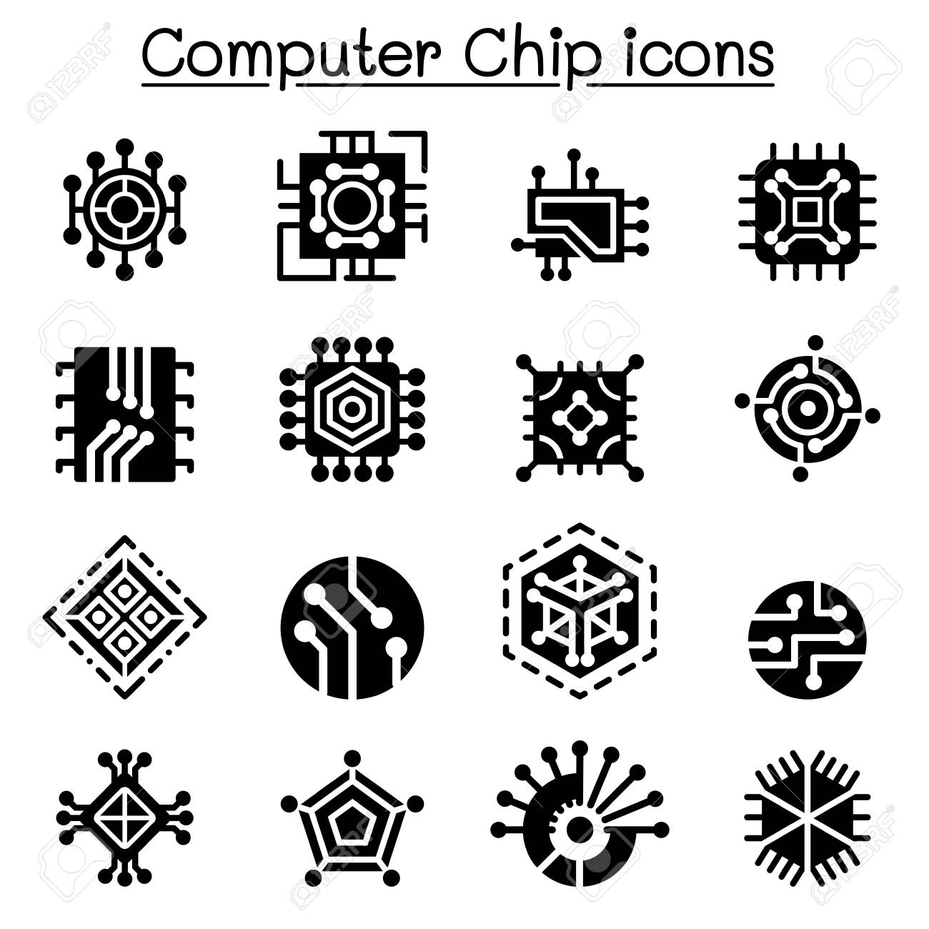 Computer Chips And Electronic Circuit Icons Royalty Free Cliparts