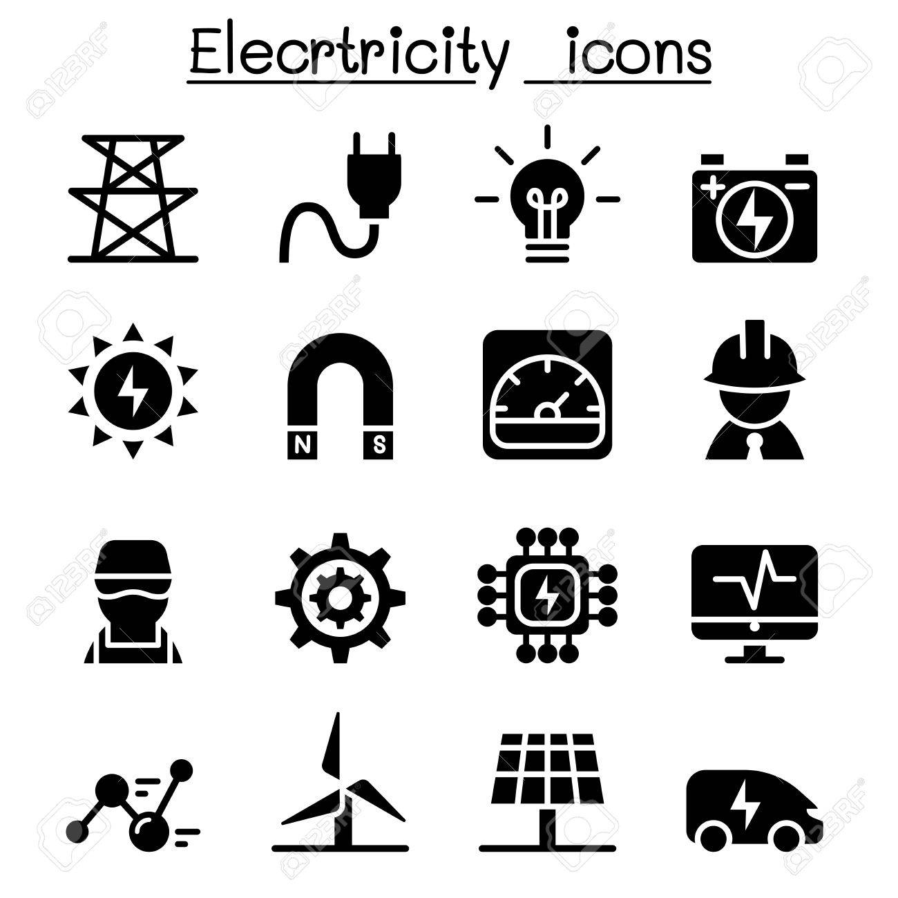 Electricity Industrial Icons With Equipment And Electrical