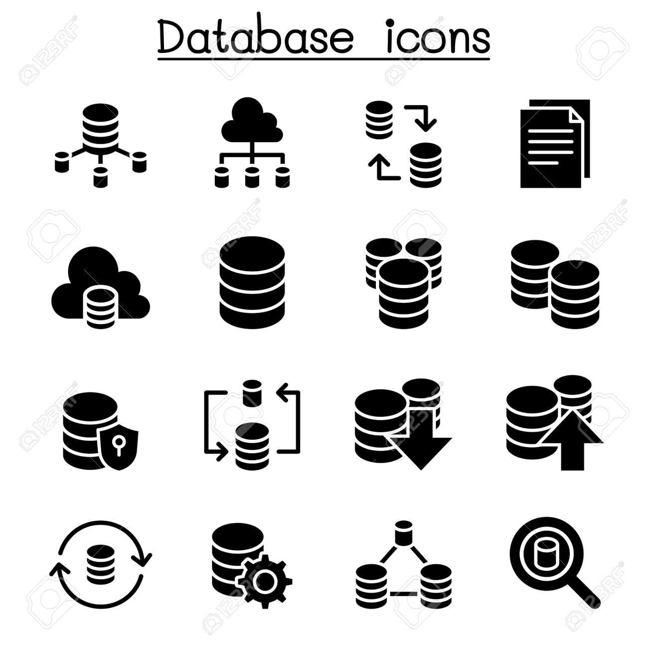 server database hosting sharing cloud computing icon set royalty