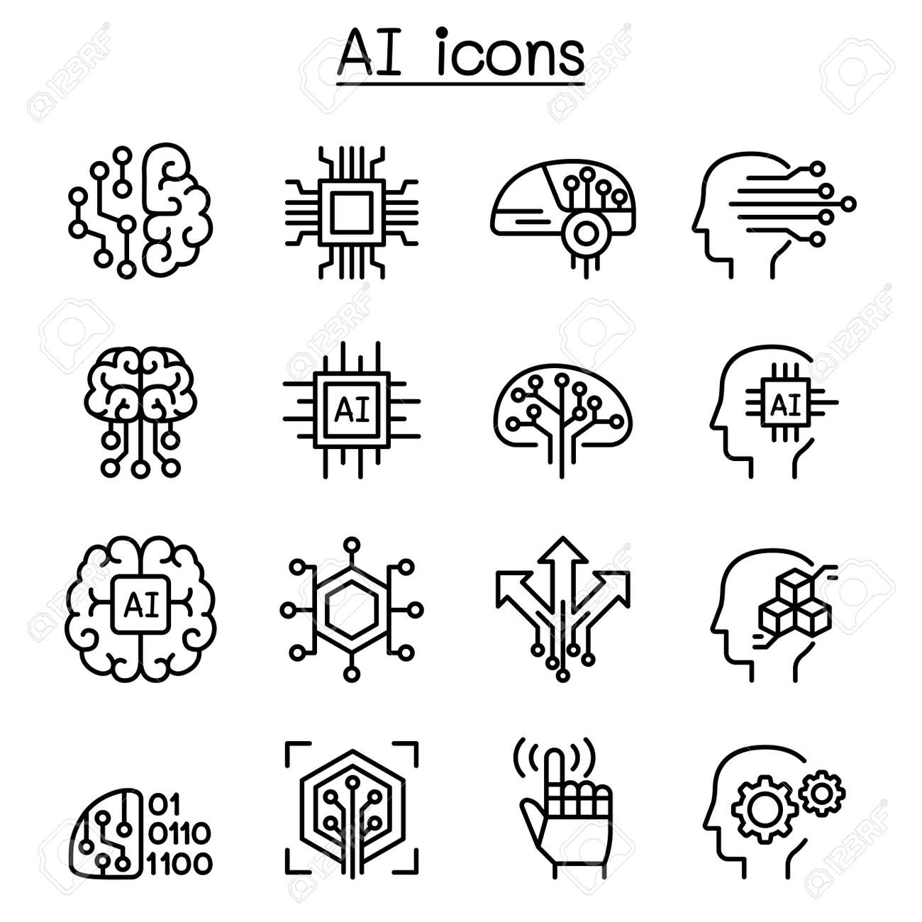 AI, Artificial intelligence icon set in thin line style - 109508022
