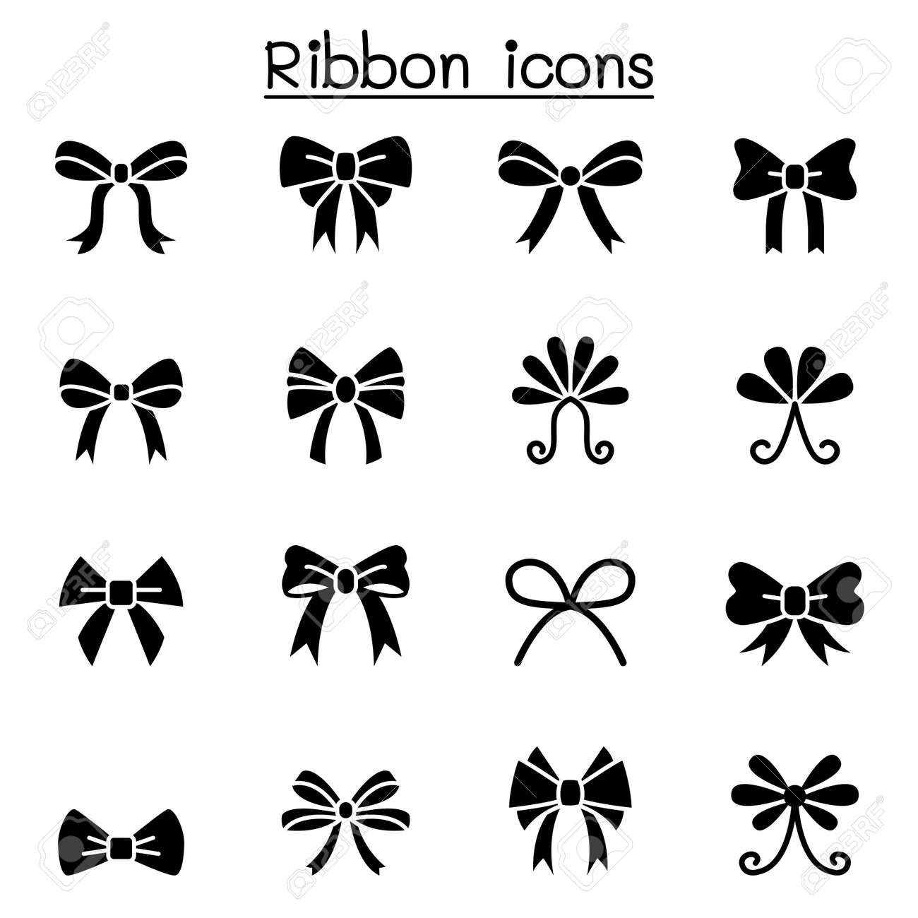 Ribbon Bow Tie Icon Set Vector Illustration Graphic Design Royalty Free Cliparts Vectors And Stock Illustration Image 144386090