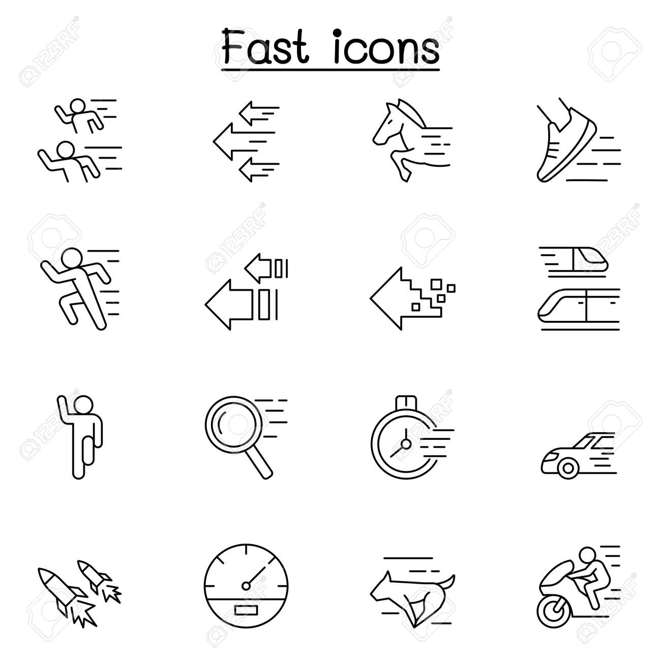 Fast & Speed related vector line icons. contains such Icons as running, racing, rocket, car, horse, internet and more. - 153252635