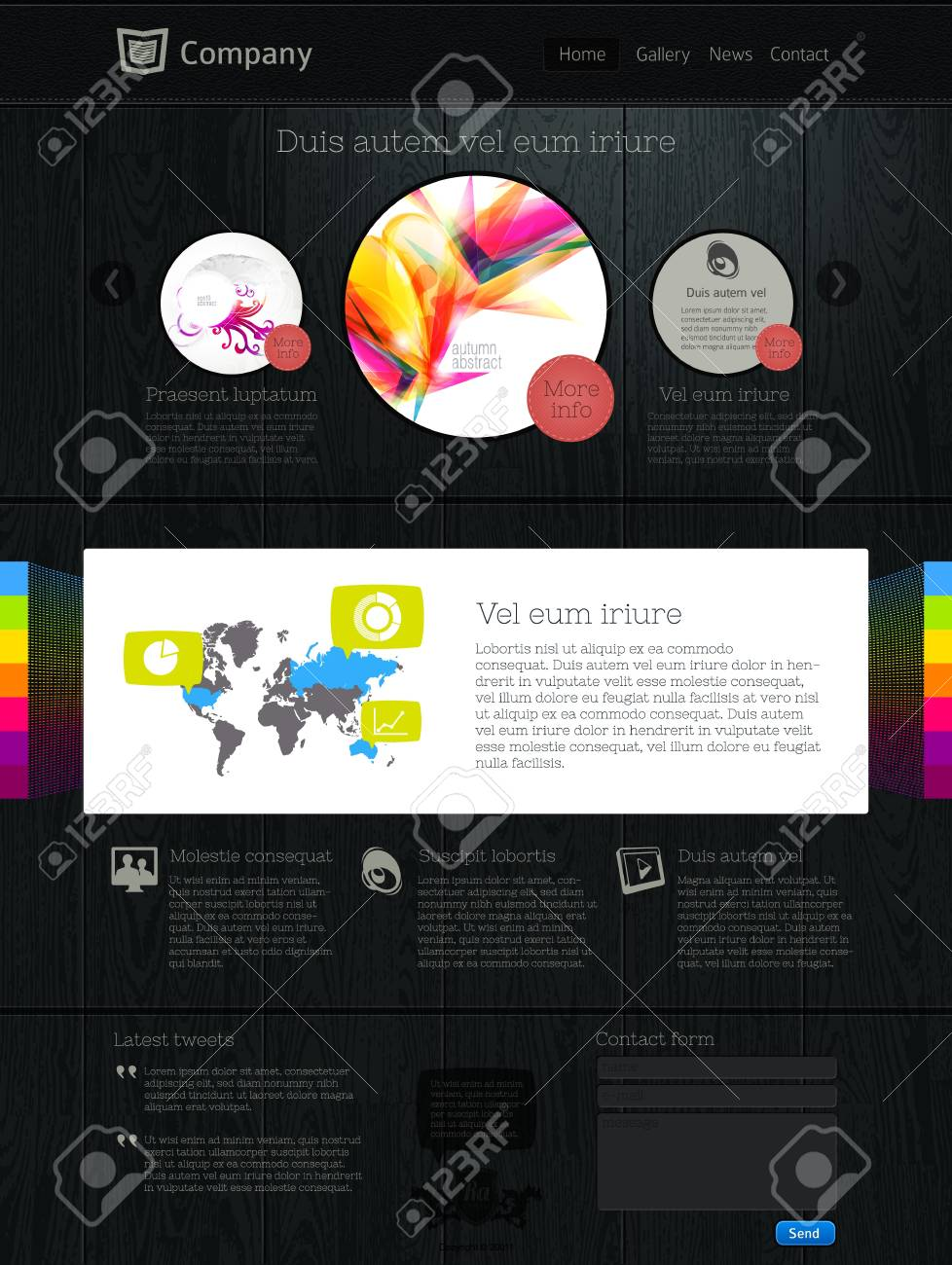 Website design template with infographics Stock Vector - 9878981