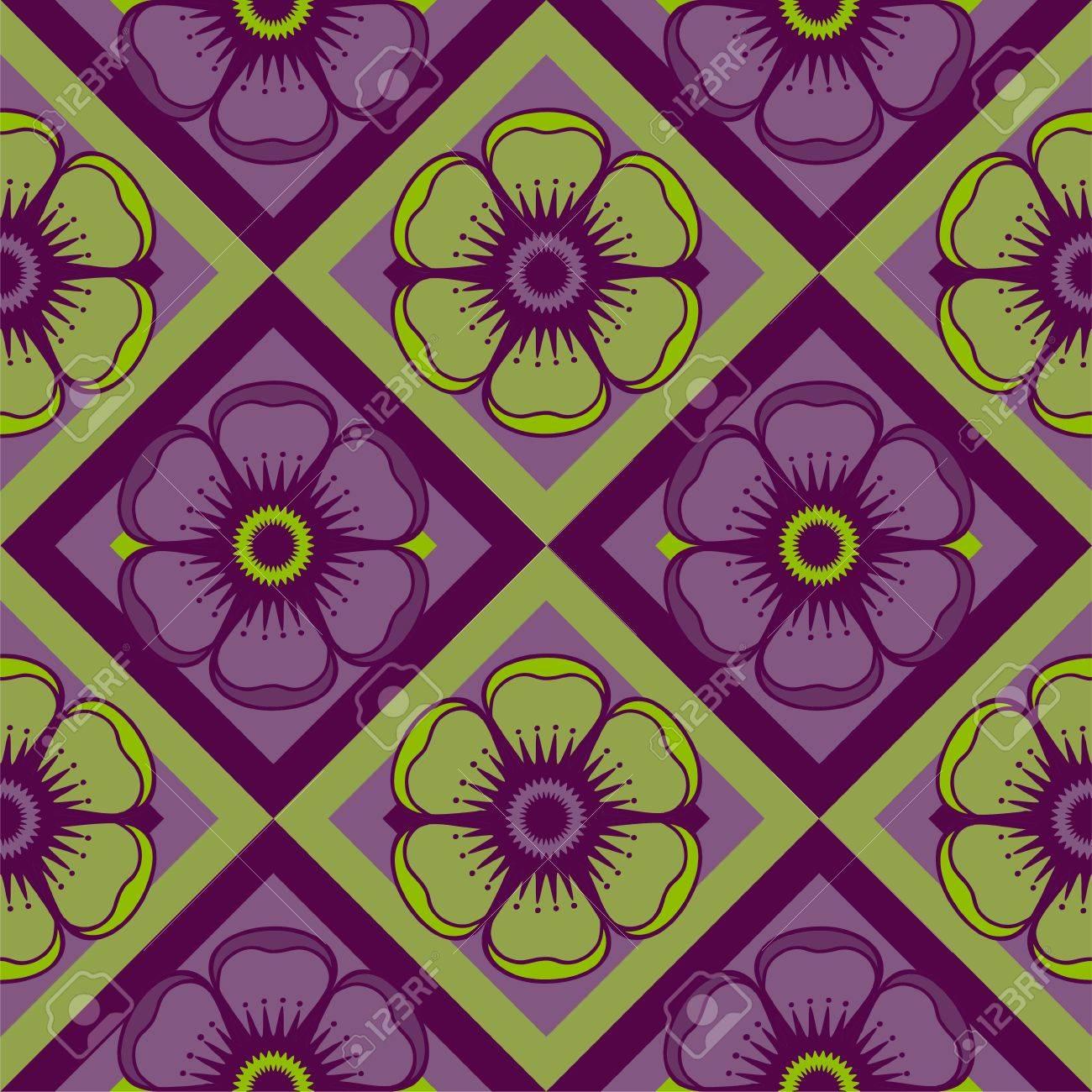 Modello Geometrico Con Fiori Astratti In Colore Verde E Viola Sfondo Senza Soluzione Di Continuità