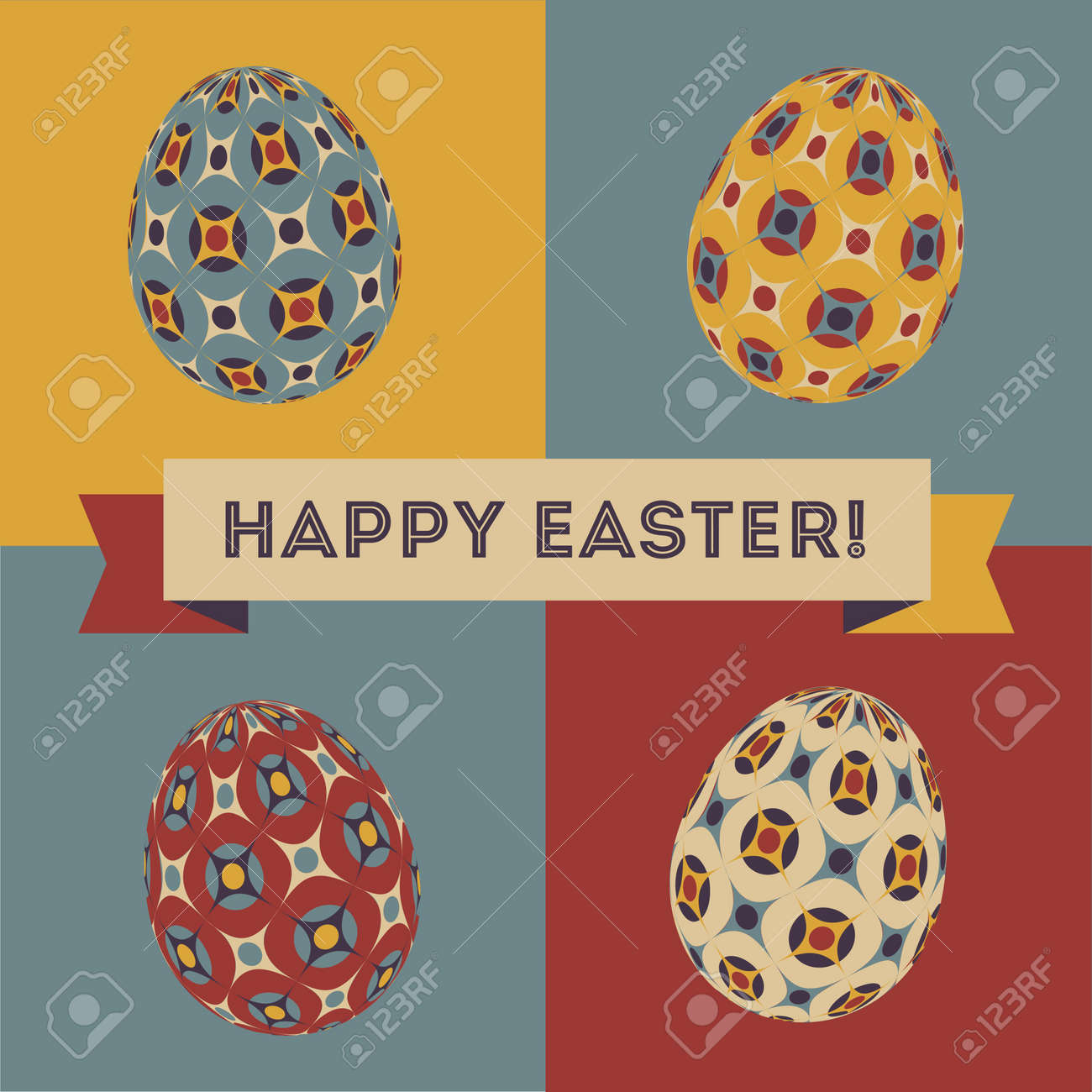 Colorful Easter Card Design With Eggs And Banner Royalty Free – Easter Card Designs