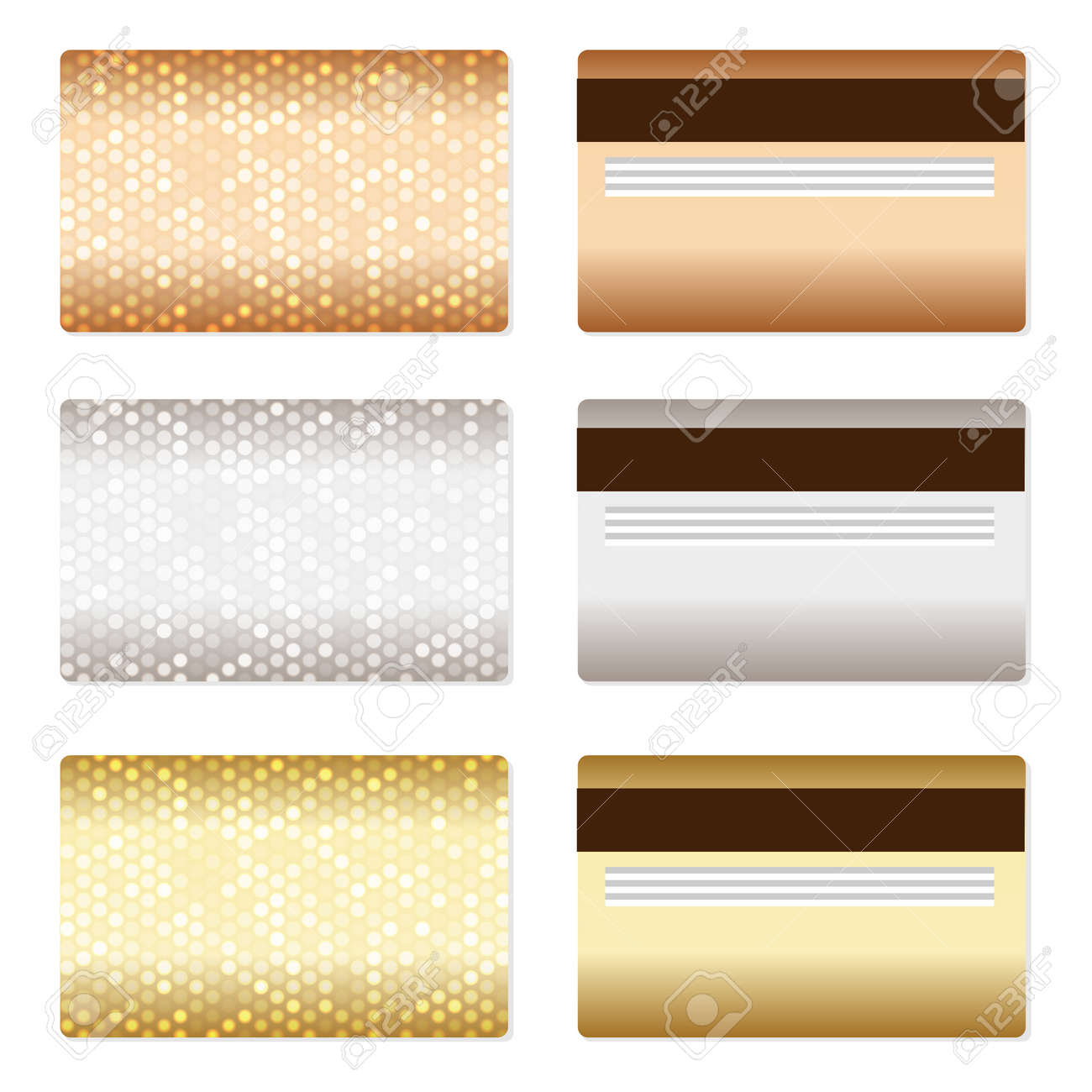 Design of discount card - Set Of Luxury Metallic Backgrounds Bronze Silver Gold For Discount Credit Gift