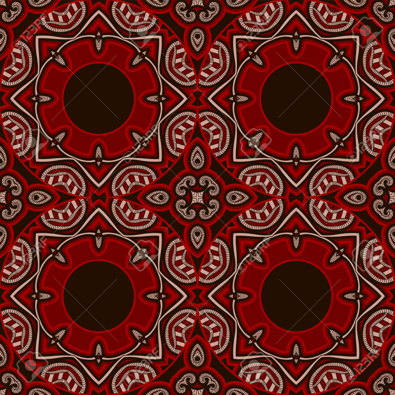 Patterned Floor Tile In Oriental Style Seamless Vector Background ...