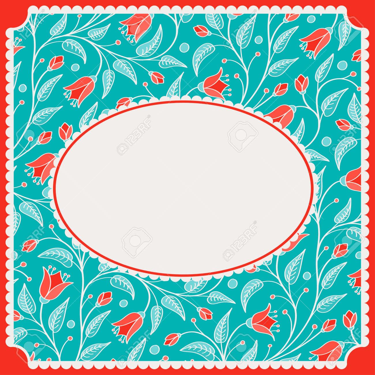 誕生日カードまたは招待の花柄のパターンと無料テンプレートのベクター