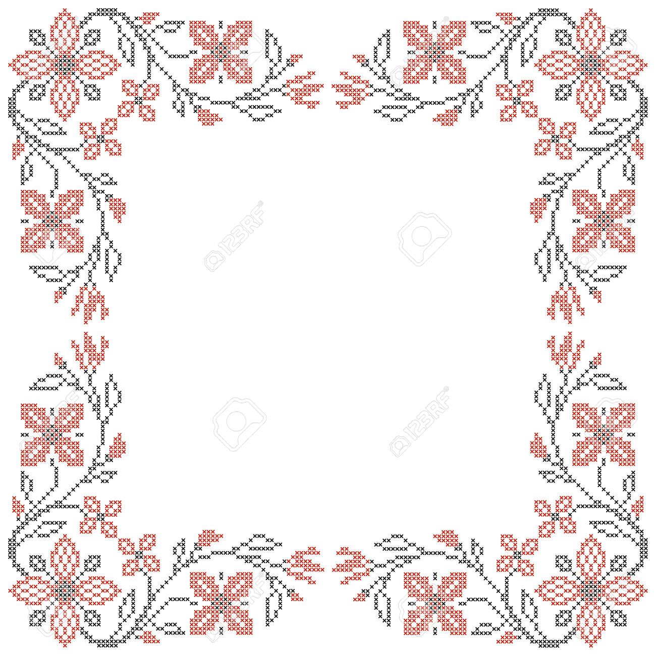 floral frame for cross stitch embroidery in ukrainian traditional ethnic style red and black