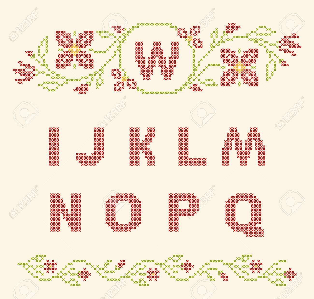 9ed94212752 Design Elements For Cross-stitch Embroidery. Red And Green