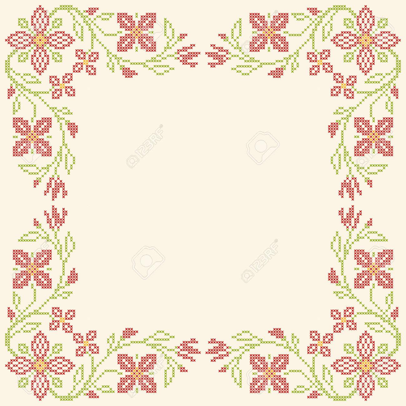 Marco Floral Para El Bordado De Punto De Cruz En Estilo étnico ...