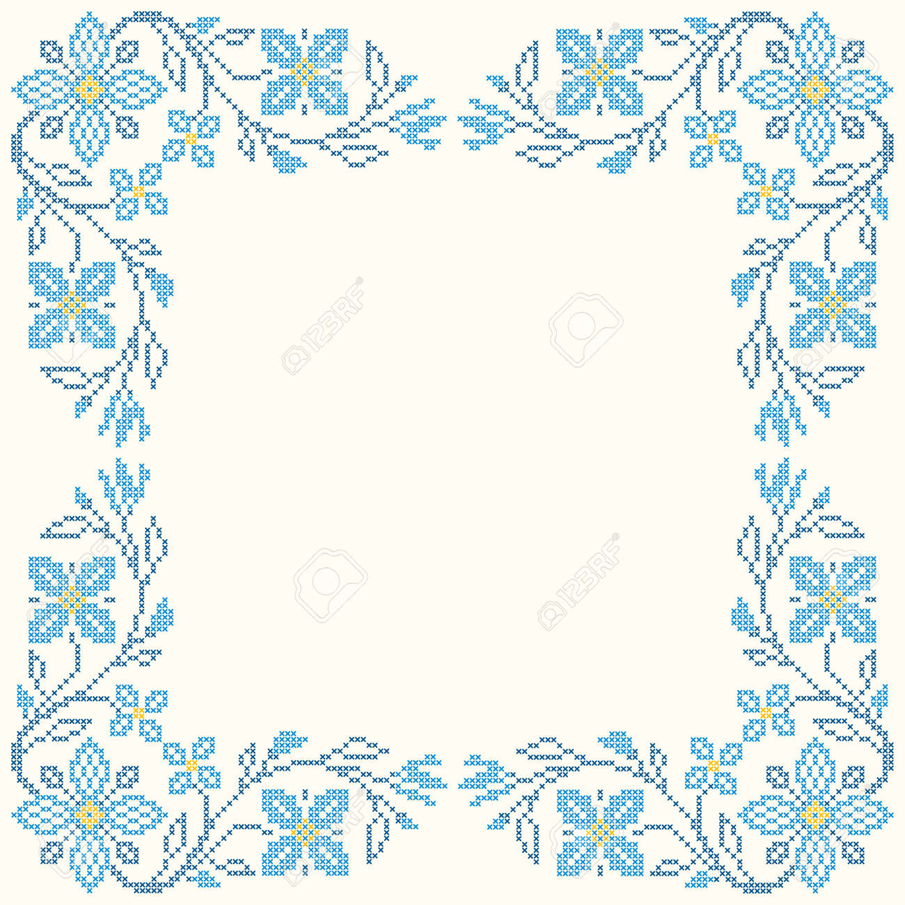 floral frame for cross stitch embroidery in ukrainian traditional ethnic style blue colors