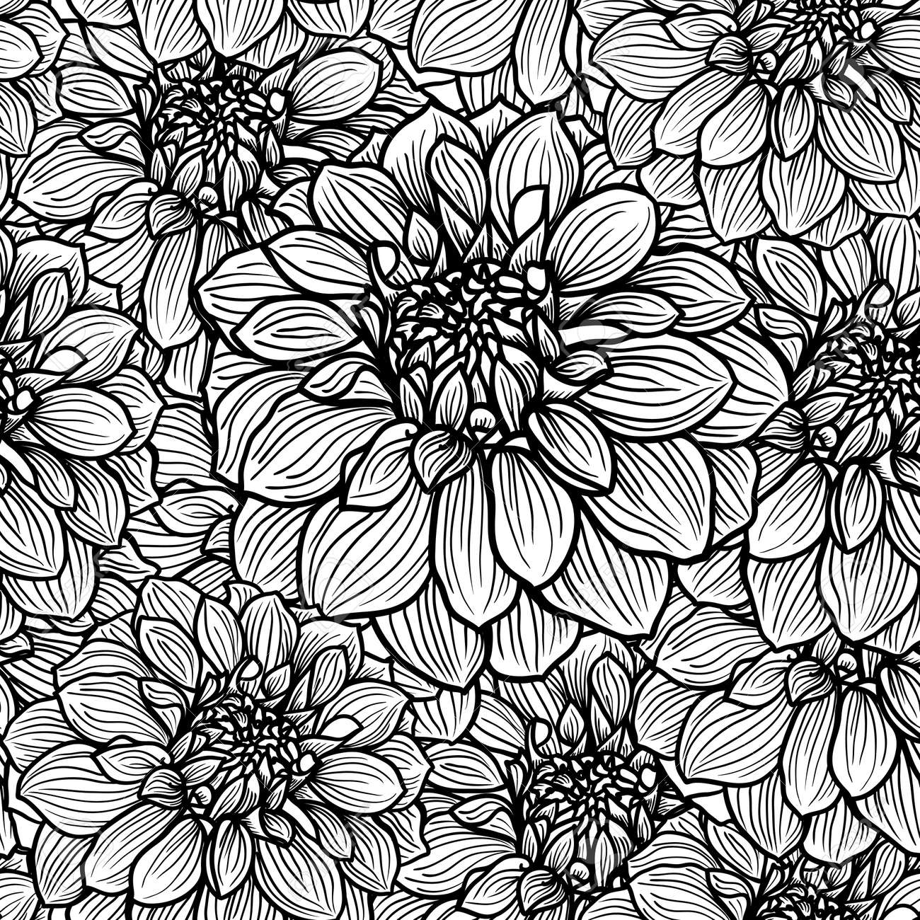 Seamless background with hand drawn dahlia flower black and seamless background with hand drawn dahlia flower black and white vector illustration stock vector mightylinksfo Image collections
