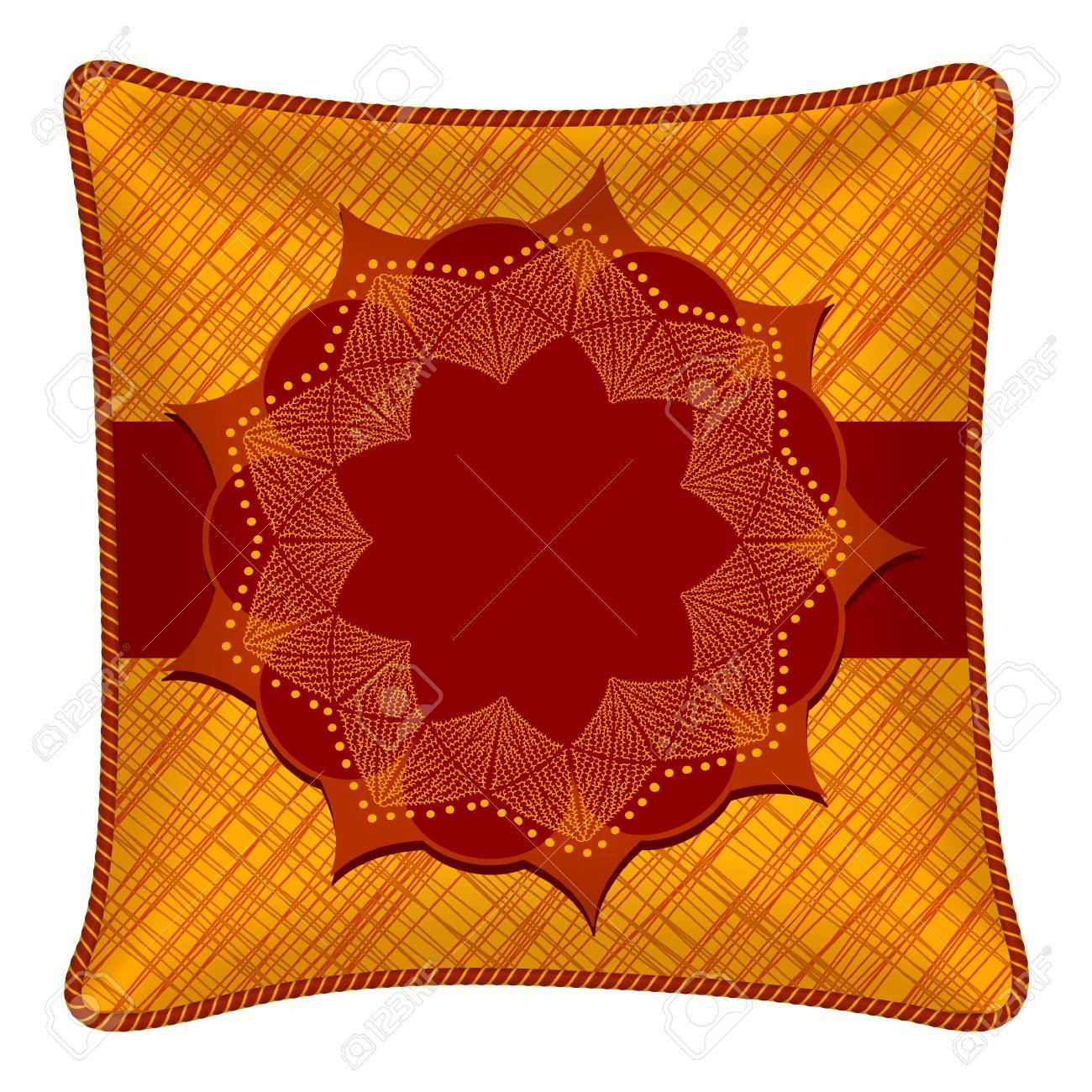 Interior Design Element Decorative Pillow With Patterned Pillowcase Abstract Flower On Bright Orange Background