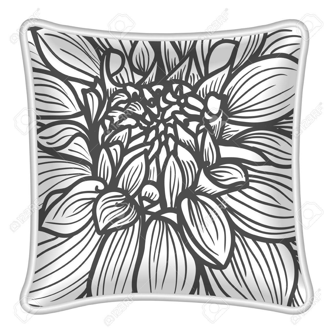 Interior Design Element Decorative Pillow With Patterned Pillowcase Floral Pattern