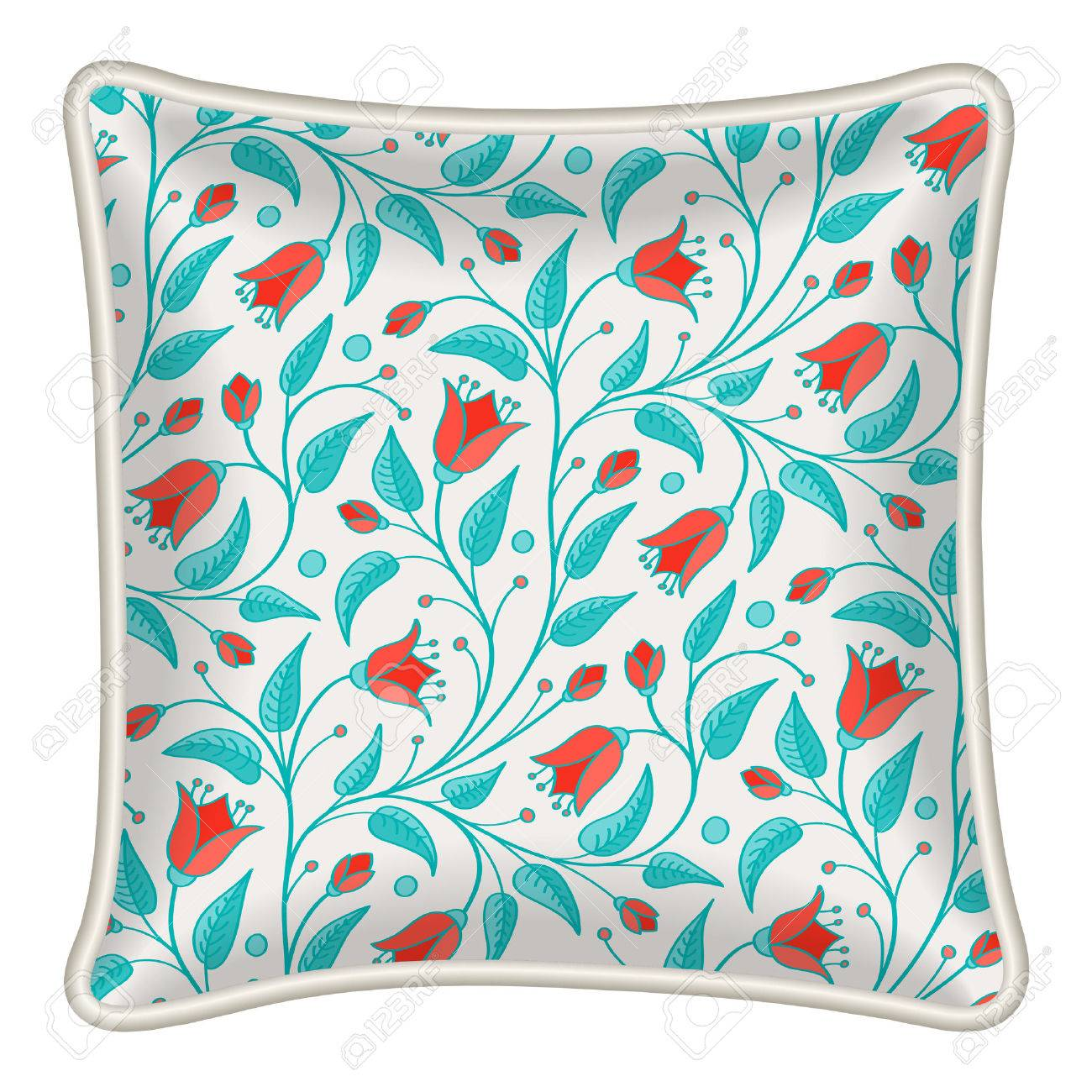 Interior Design Element Decorative Pillow With Patterned Pillowcase Natural Floral Pattern Isolated On White Vector Illustration